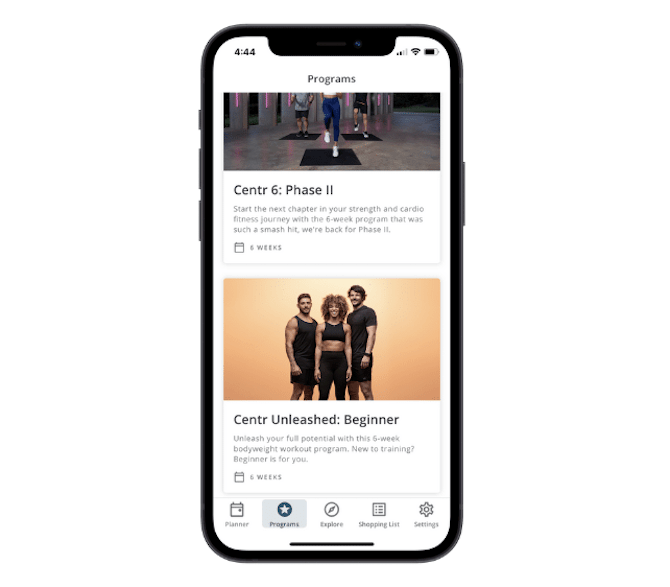 The Centr mobile app has a clean design, with a solid white background and sharp pops of color to call attention to its workout programs and content, like the Centr 6: Phase II and Centr Unleashed: Beginner.