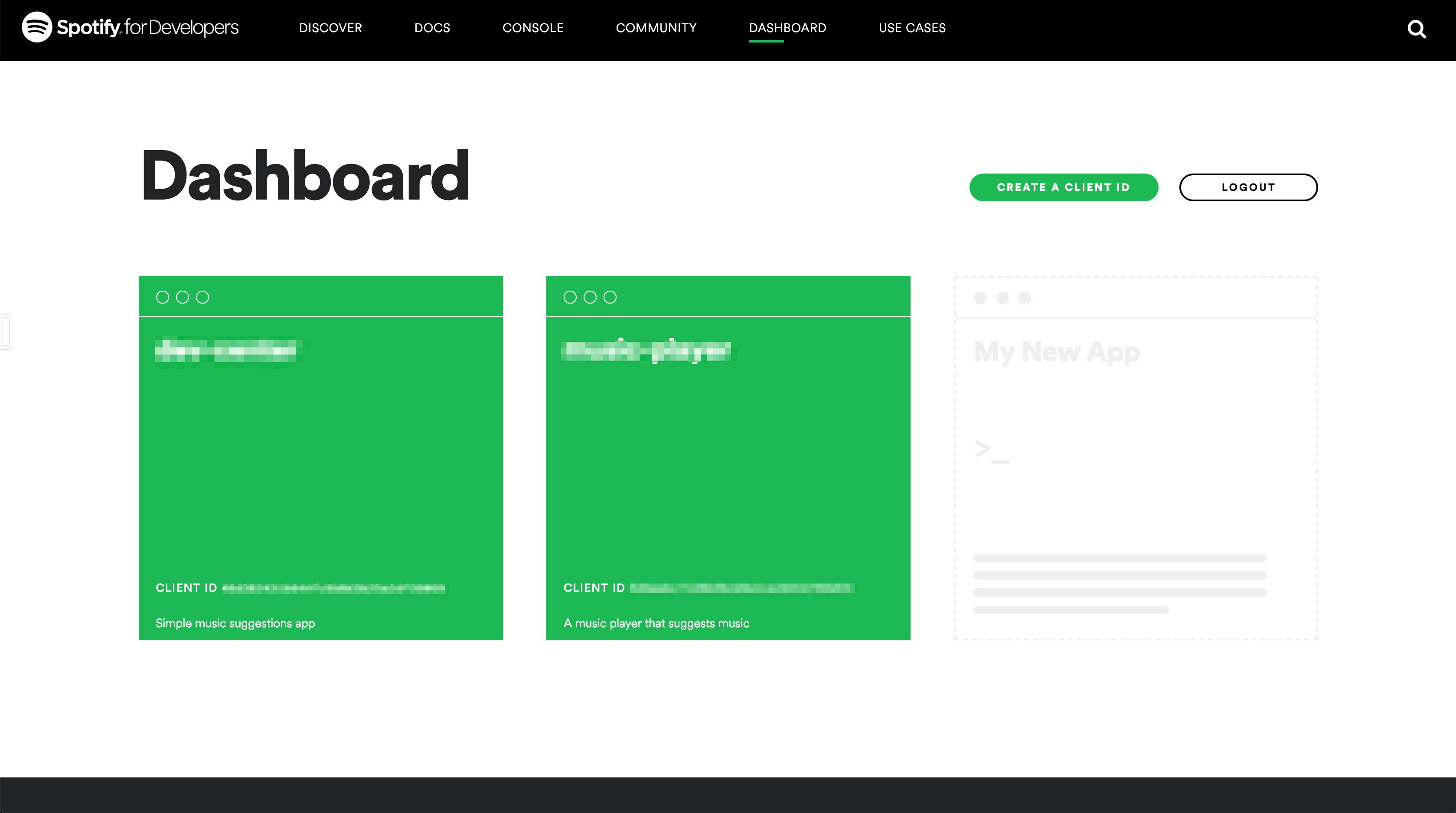 The developer dashboard. Existing applications will be listed.