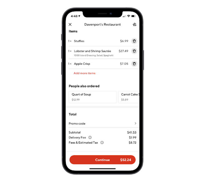The DoorDash app includes a breakdown of the fees associated with orders: order subtotal, delivery fee, fees & estimated tax.