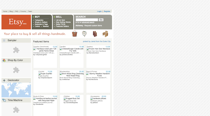 The Etsy beta website just after launch with an unresponsive layout, numerous navigation bars and Flash players.