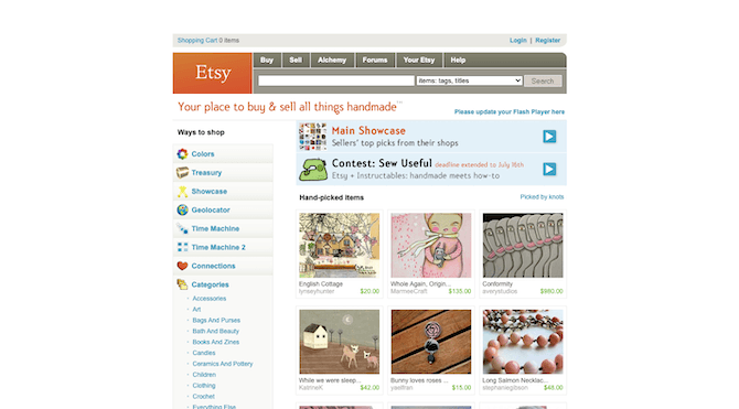 The Etsy website left beta and became a full-fledged product in 2007. The store wasn't responsive, but it was modern and intuitively designed.