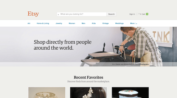The Etsy website gets a nice makeover in 2014 with a responsive and minimal design.