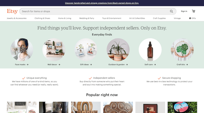The Etsy website in 2020 is a beautiful marketplace with an oversized search bar, intuitive navigation and attractive design.