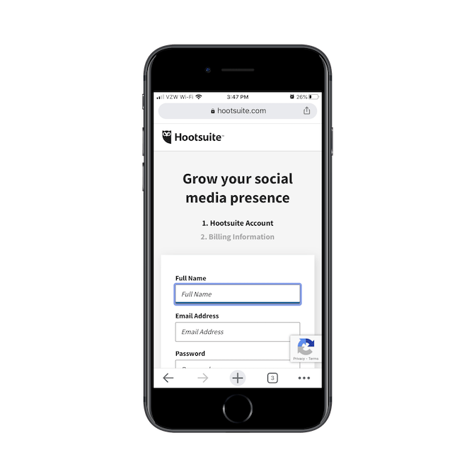 Hootsuite asks new mobile users to create an account, entering their Full Name, Email Address and creating a Password.