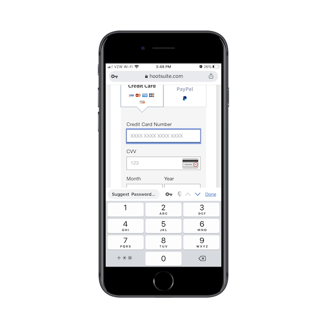 Hootsuite's signup form adjusts the keyboard as users move between fields. For the Credit Card Number field, they're shown the numeric keypad.