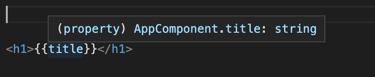Hovering over 'title' in {{title}} shows a pop-over '(property) AppComponent.title:string'