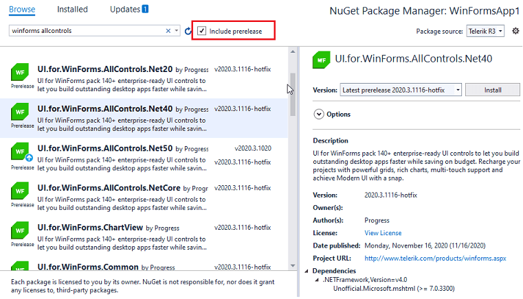 """Installing the Latest Internal Builds via NuGet for Telerik UI for WinForms, by selecting the """"Include prerelease"""" checkbox."""