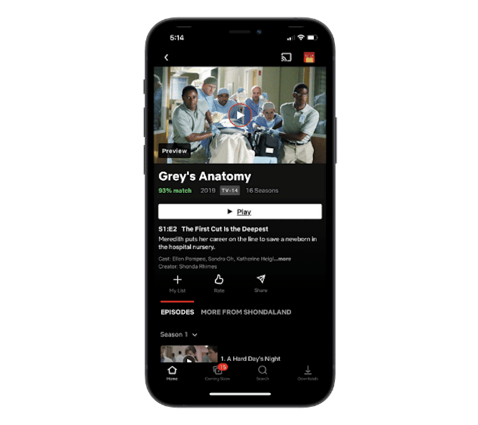 The Netflix app includes a match percentage based on the user's ratings of other shows or movies as well as their watch habits. Grey's Anatomy gets a 93% match for this user.