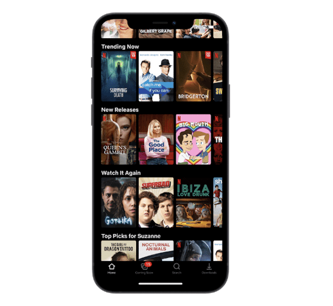 The Netflix mobile app includes a bright-red 'N' logo on each TV show or movie that belongs to it, like Stranger Things, Bridgerton and Queen's Gambit.