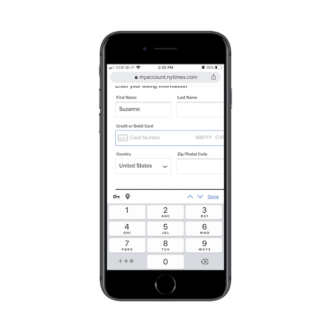 """When New York Times subscribers reach a field like """"Credit or Debit Card"""" in the checkout form, the field opens the numeric keypad."""