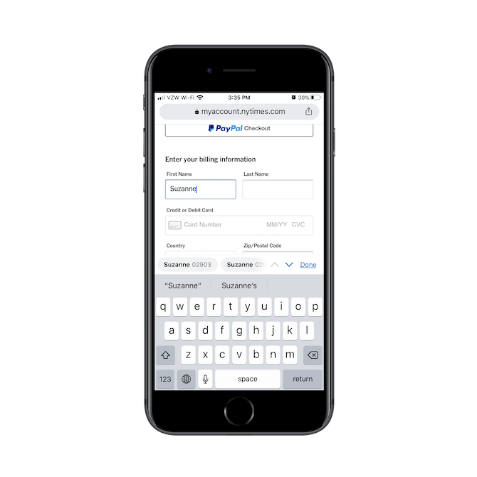 """When New York Times subscribers reach a field like """"First Name"""" in the checkout form, the field opens the alpha keyboard."""