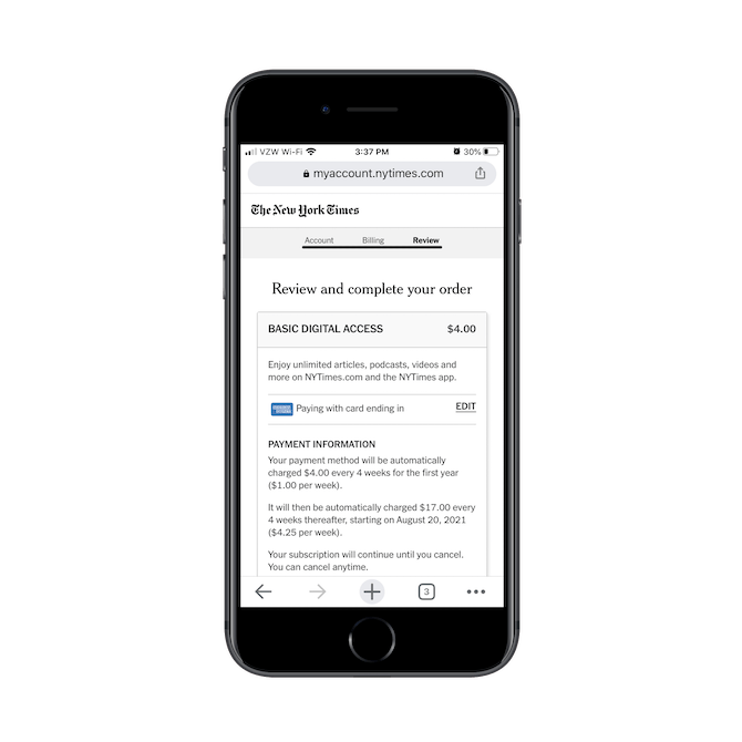 The New York Times's order review page on mobile succinctly sums up the digital subscription details and costs.