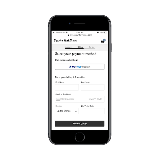 New York Times subscribers can use express checkout with PayPal Checkout or they can input their billing information from-scratch.