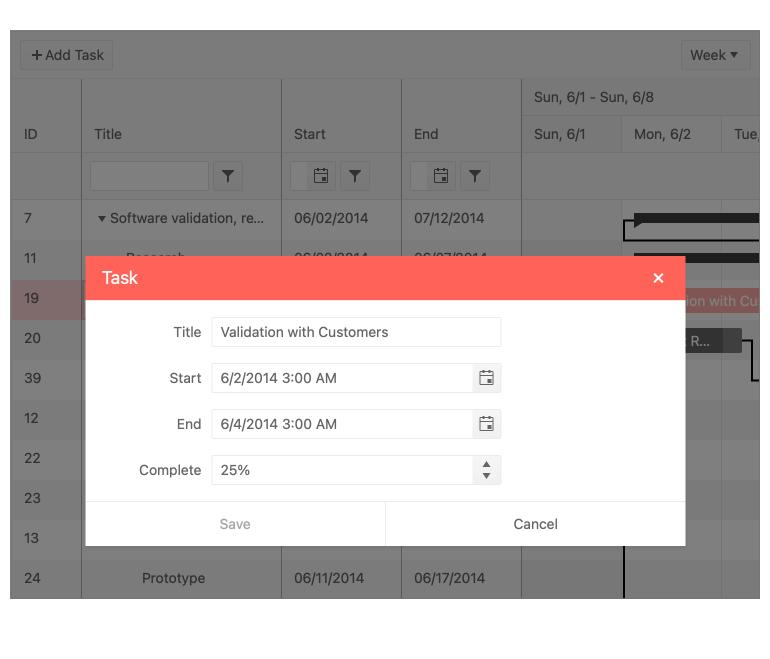 KendoReact Gantt Component - Editing