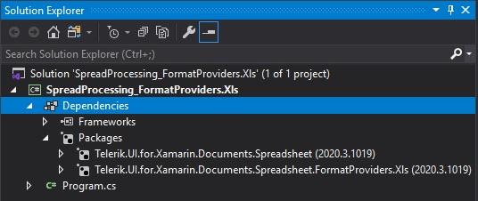 Loading RadSpreadProcessing XLS via NuGet .NET Standard for Xamarin