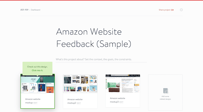 A sample of how a web designer might upload mockups of different pages to share with clients to review.