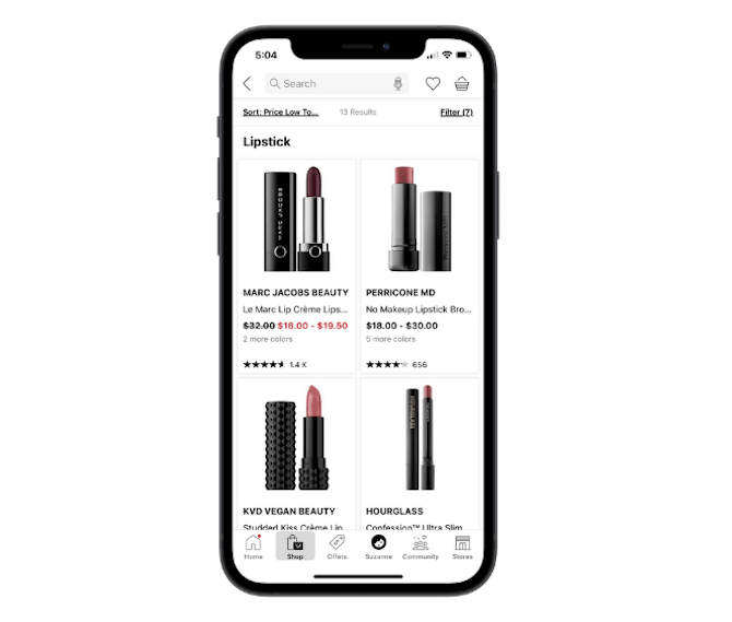 Sephora's mobile app uses a large product card design to show no more than 4 products at once. This one shows us lipsticks from Marc Jacobs Beauty, Perricone, MD, KVD Vegan Beauty and Hourglass.