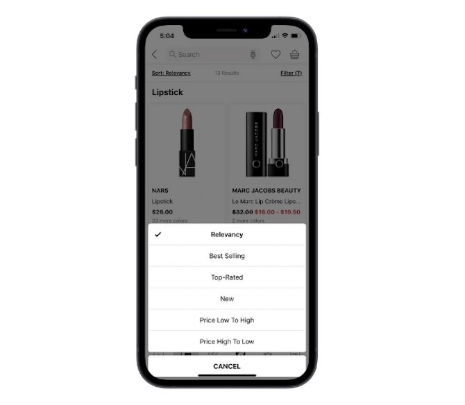 Sephora's mobile app allows users to sort by Relevancy, Best Selling, Top-Rated, New, Price Low to High, and Price High to Low