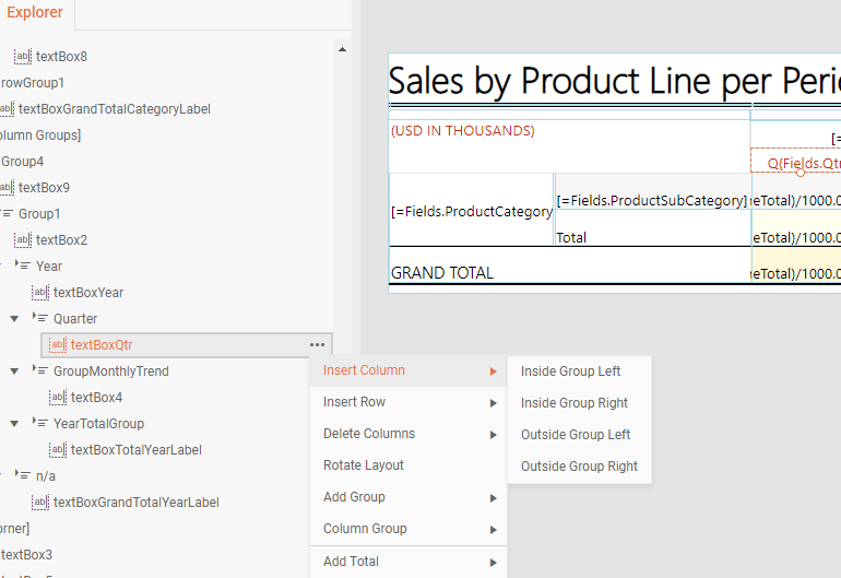The new Table Context Menu Commands available in Telerik Reporting