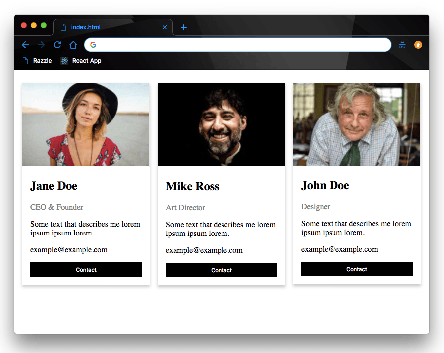 We see three team members with image, name, title and bio