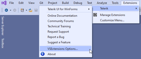 Selecting Telerik UI for WinForms Visual Studio Extensions Options from the Extensions menu in Visual Studio.