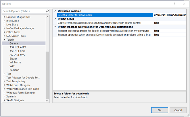 Showing the Telerik UI for WinForms Visual Studio Extensions Options in Visual Studio.