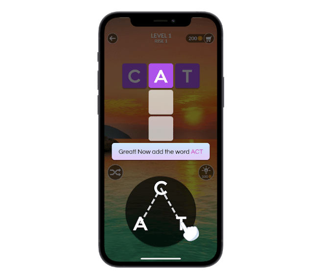 Wordscapes provides a tutorial in the first round that shows users how to form words with a dragging gesture.