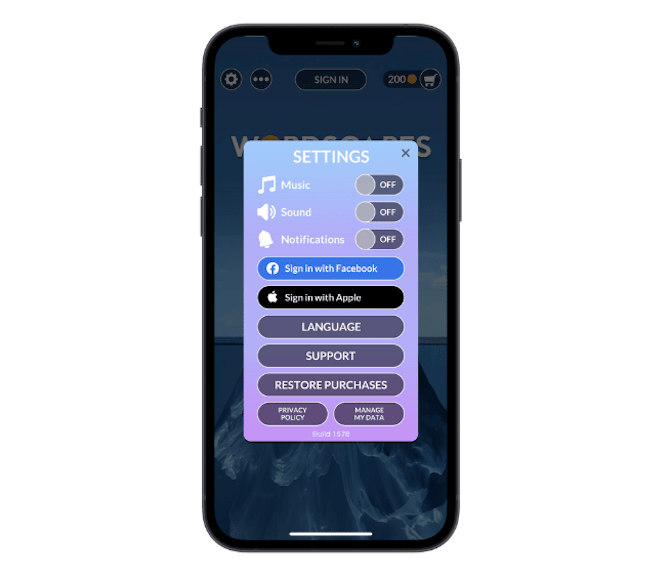 The Wordscapes mobile app allows users to quickly toggle on or off the music and sound.