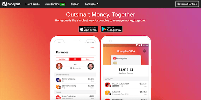 """The HoneyDue homepage hero design is simple. It has an orange-purple gradient background, the message """"Outsmart Money, Together"""", app store links, and smartphone graphics that show how a couple would manage their bills and spending together."""
