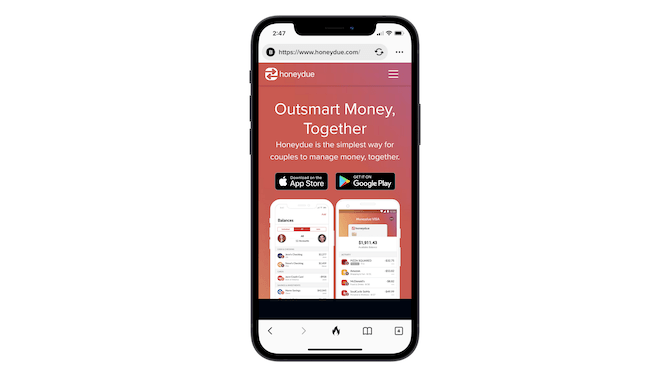 """What the HoneyDue homepage hero design looks like on mobile. It has an orange-purple gradient background, the message """"Outsmart Money, Together"""", app store links, and smartphone graphics that show how a couple would manage their bills and spending together."""