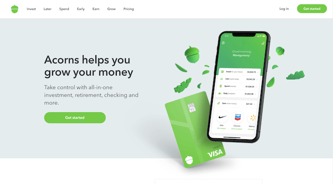 """Acorn's homepage hero image is simple in design. The background is a dusty light blue color. On top of that is a brief message explainin how """"Acorns helps you grow your money"""" alongside images of the mobile app and VISA card."""