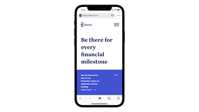 Visitors to the homepage of the Blend website on mobile see a banner promoting a Forrester report under the main headline of the hero image. The big blue banner takes up about a third of the screen.