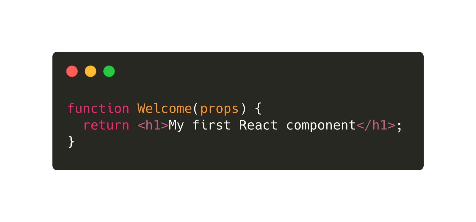 Image shows code reading 'function Welcome(props) { return <h1>My first React component</h1> ; }'