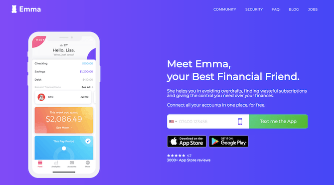 The homepage for mobile app Emma is designed like other fintech homepages. However, this one includes a 4.7-star rating from 3000+ App Store reviews to help build trust.