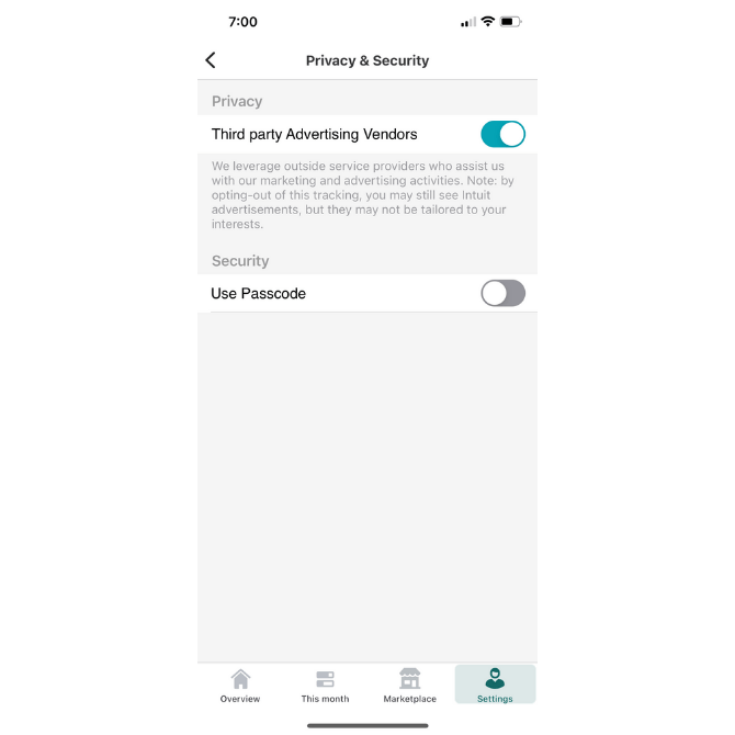 Mint allows users to decide if they want to see personalized third-party ads in the app based on their data.