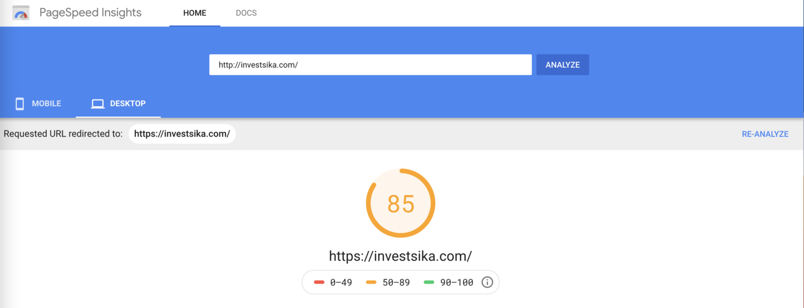 PageSpeed of investsika.com shows 85 in yellow.