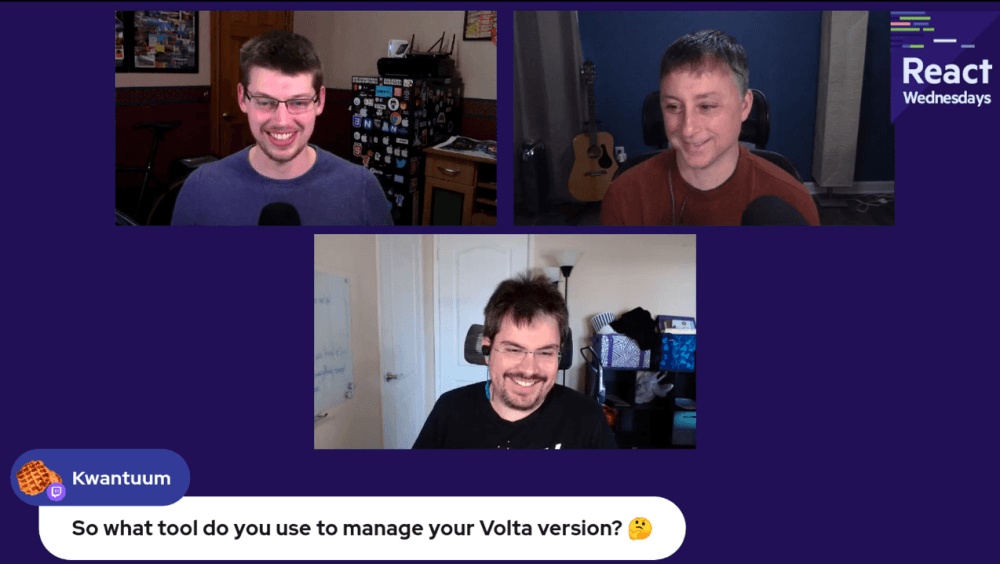 React Wednesdays featuring Volta, answering a question on what tool they use to manage Volta version