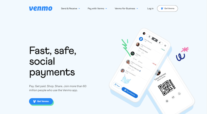 """The Venmo homepage briefly sums up what the product does — """"Fast, safe, social payments"""" and pairs it alongside images of the actual app. The call-to-action then invites visitors to """"Get Venmo""""."""