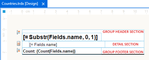countries.trdx file shows groups header section, detail section, group footer section.