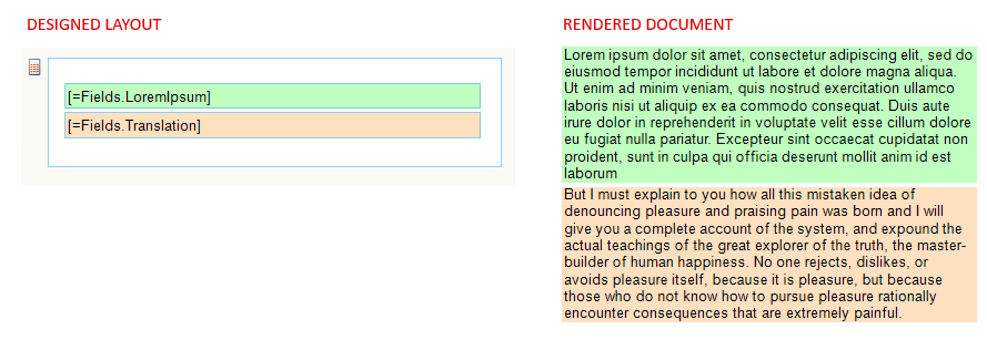 Designed layout has two boxes: [=Fields.LoremIpsum] and [=Fields.Translation]. Rendered document has two similar boxes with text that runs a full paragraph, the first in Latin, the second in English.