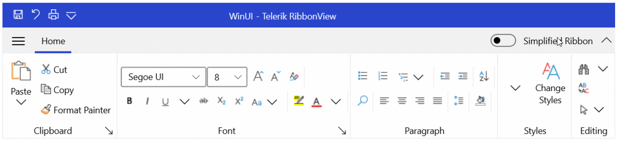 WinUI Telerik RibbonView shows Home with Clipboard, Font, Paragraph, Styles, Editing. There is an option to turn on Simplified Ribbon.