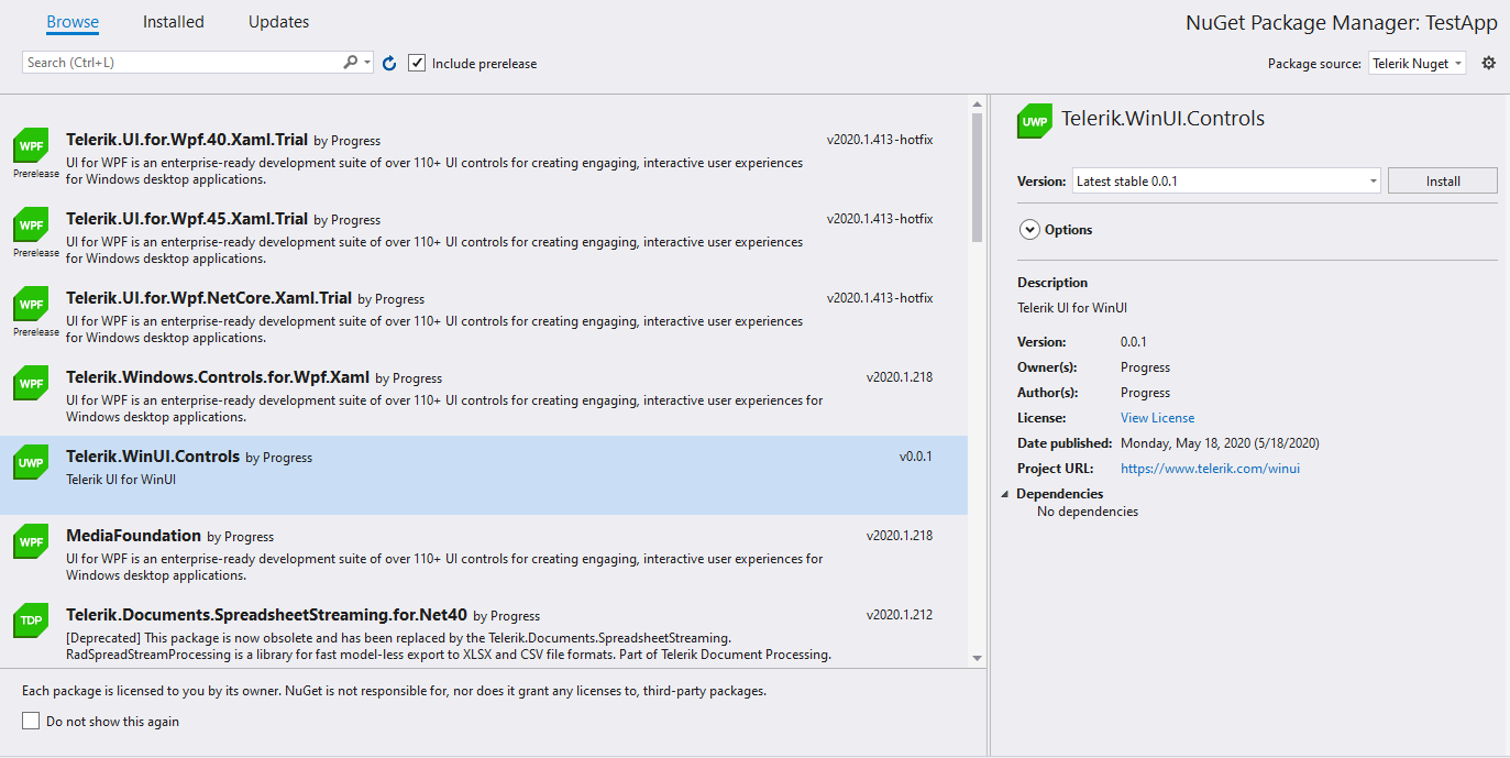 NuGet Package Manager: TestApp window shows Telerik.WinUI.Controls v0.0.1 ready to be installed.