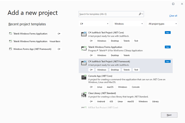 On the 'add new project' screen, we're adding a new C# JustMock Test Project (.NET Framework).