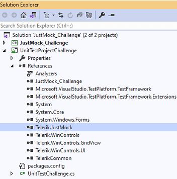 In Solution Explorer, under UnitTestProjectChallenge > References > Telerik.JustMock.