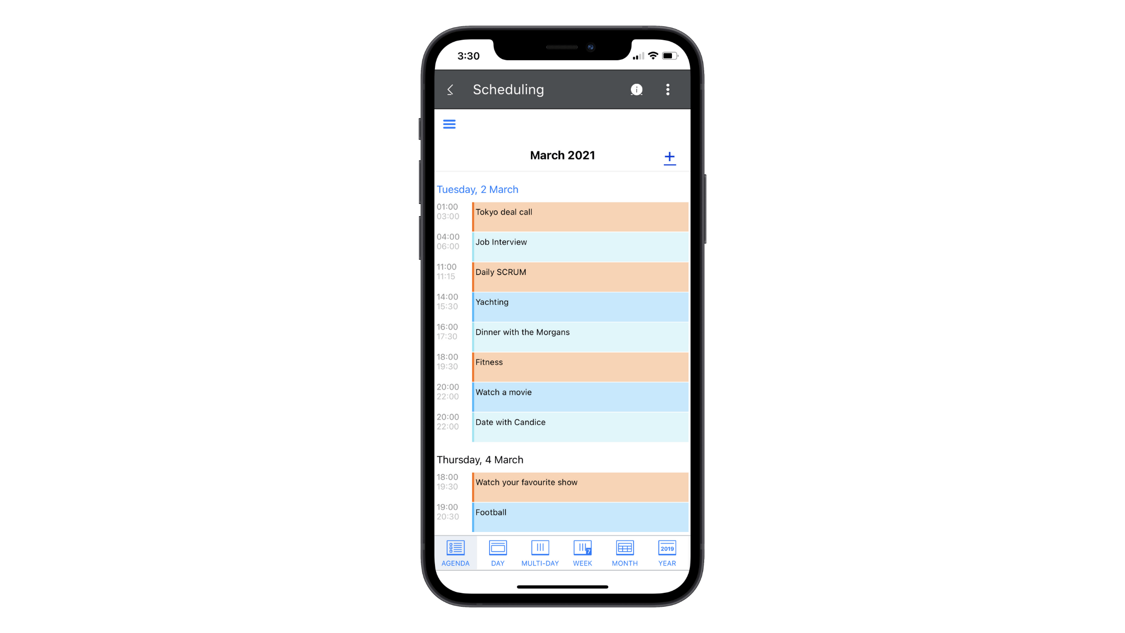 This scheduling component is part of the Telerik UI for Xamarin library. In this example, we see what a schedule for March 2021 looks like in the Agenda view.