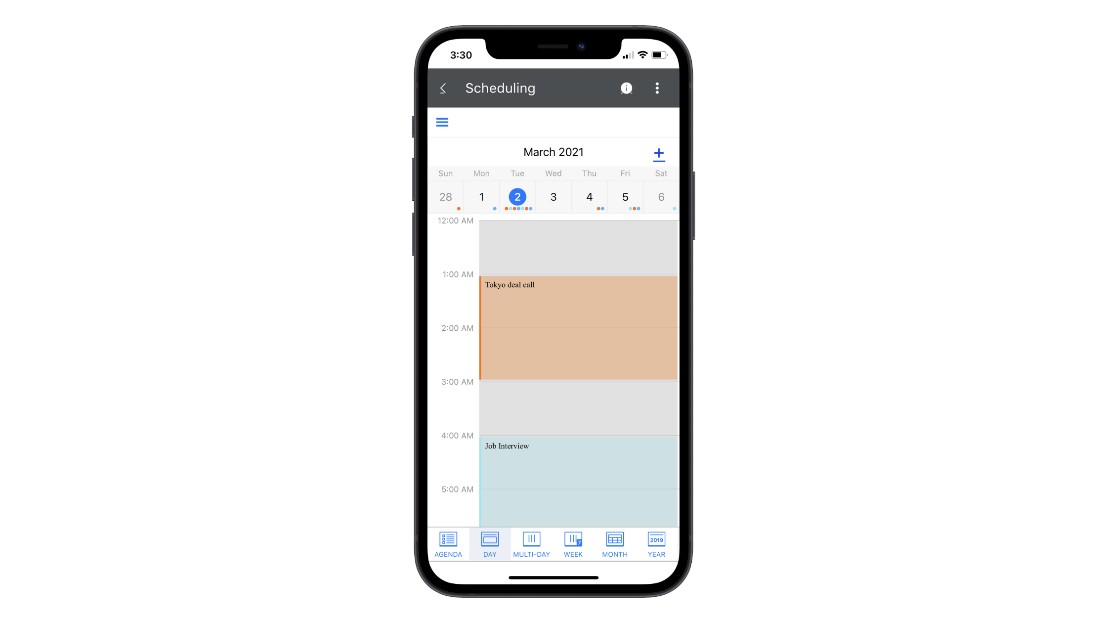 This scheduling component is part of the Telerik UI for Xamarin library. In this example, we see what a schedule for March 2021 looks like in the Day view.