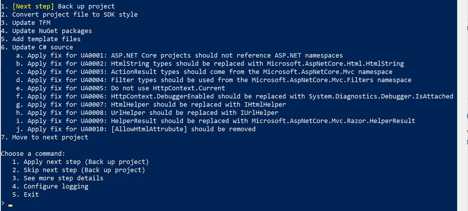 View of Upgrade Assistant ASP.NET rules