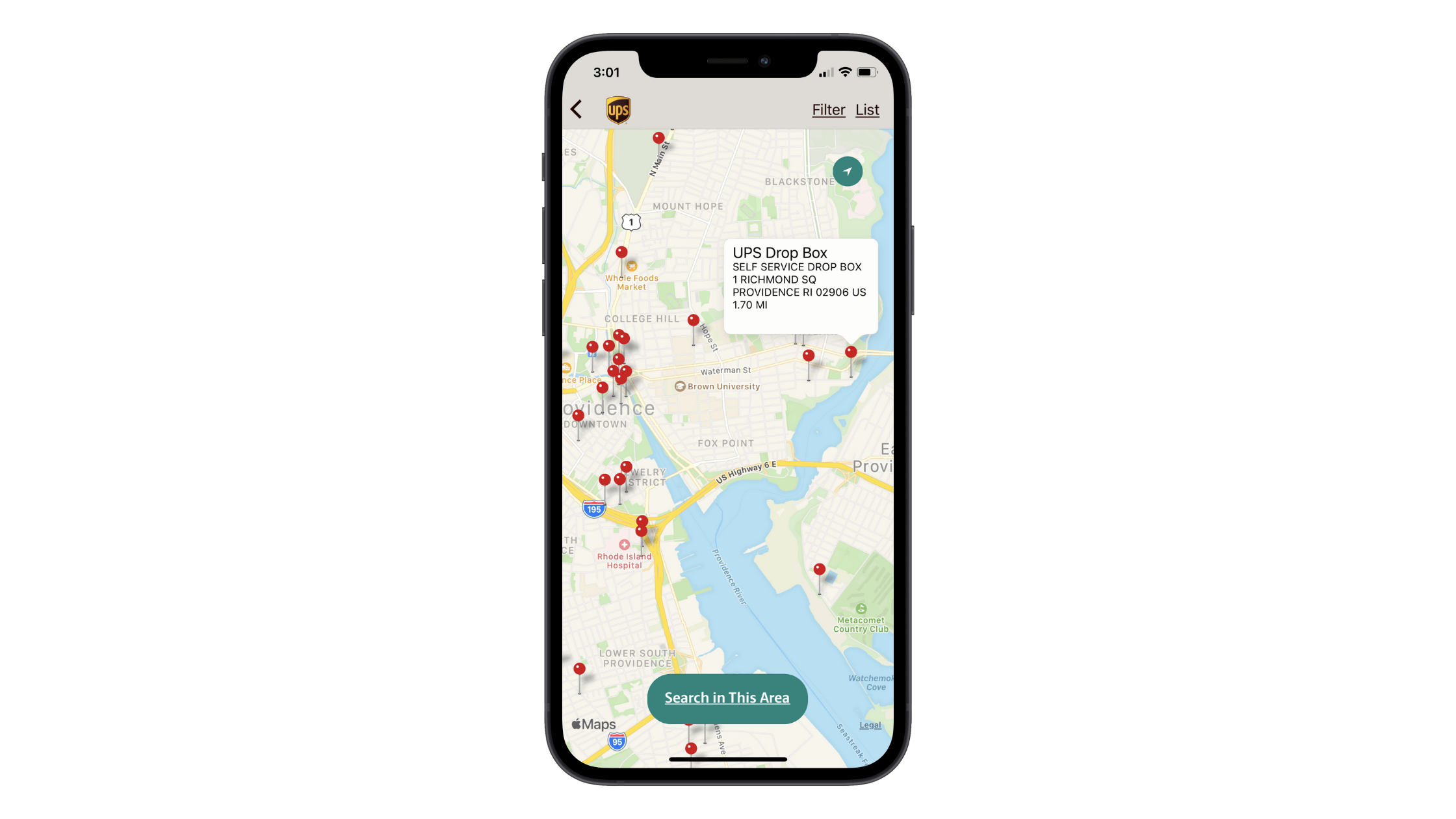 UPS mobile app users can map their location search results. Each of the red pins can be clicked to reveal corresponding information about the type of UPS location, its address, and its distance from the user.