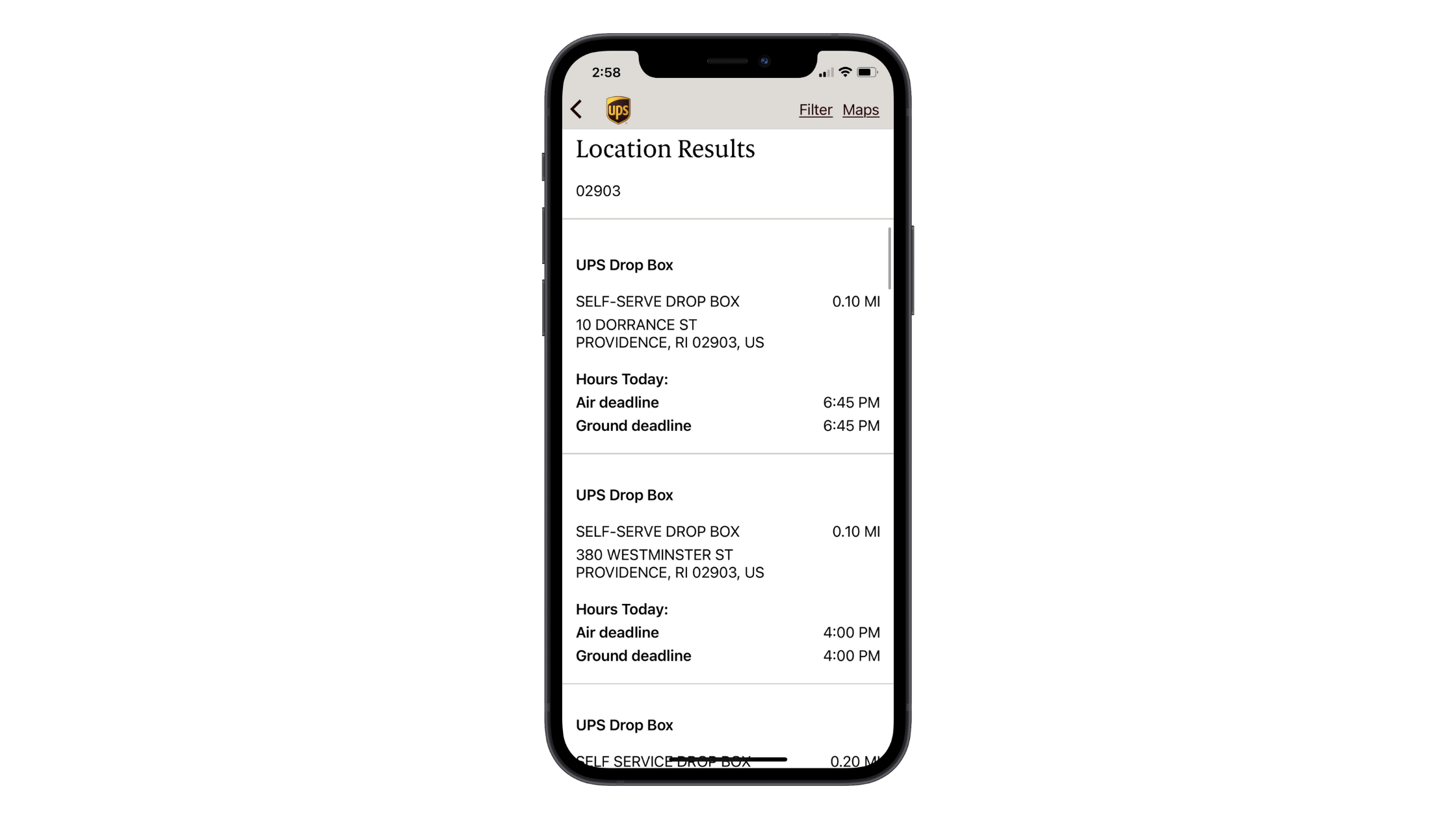 A search for UPS locations near zip code 02903 in the mobile app yields results for UPS drop box locations on 10 Dorrance St and 380 Westminster St in Providence, RI.