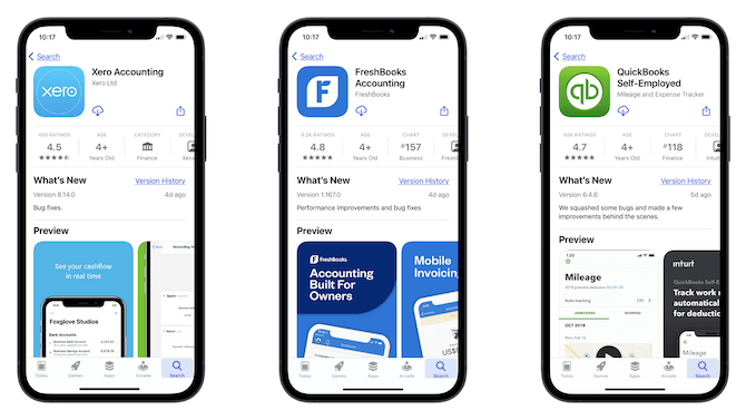 A side-by-side comparison of the Apple app store pages for Xero Accounting, FreshBooks Accounting, and QuickBooks Self-Employed Accounting.